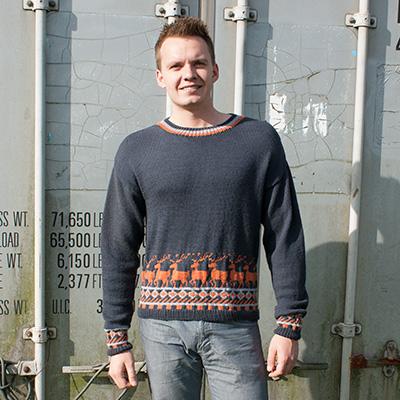 Mønsterstrikket herre sweater