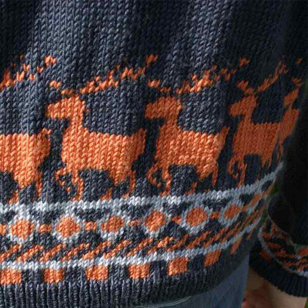 Detalje af herresweater med hjorte