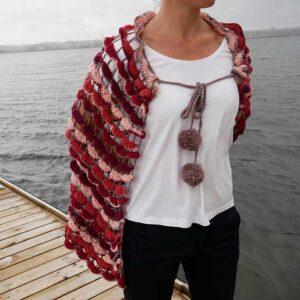 Hæklet sjal foran