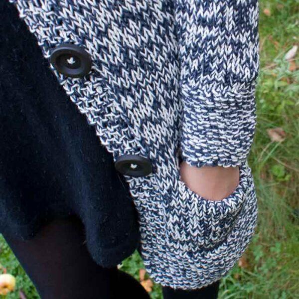 Detalje af lomme på klassik cardigan