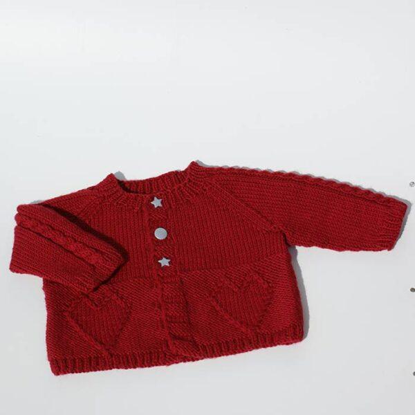 Cardigan til baby i rød