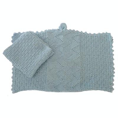 Karklud og håndklæde med ribber