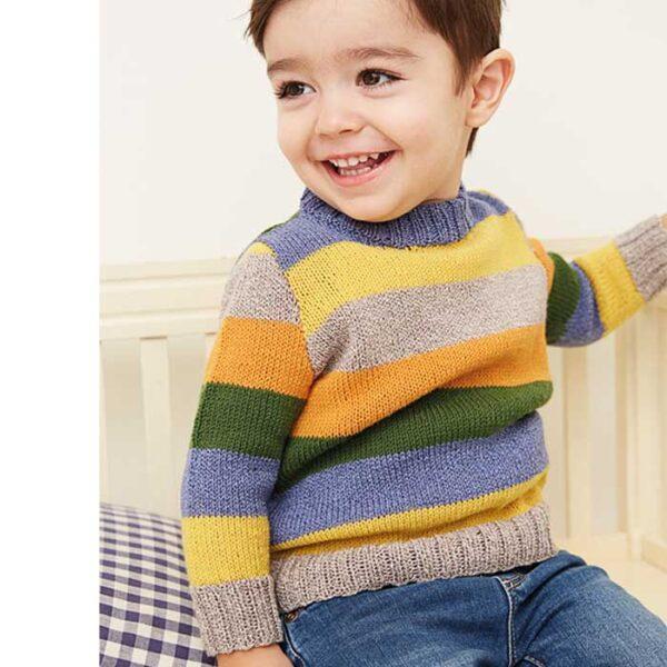 stribet drenge sweater forfra Kirsten Nyboe Strikdesign