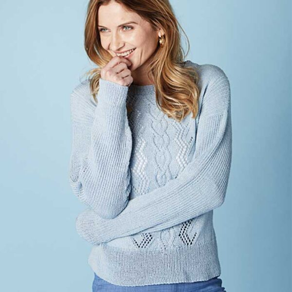 Forårsweater med hulmønster kirsten nyboe strikdesign
