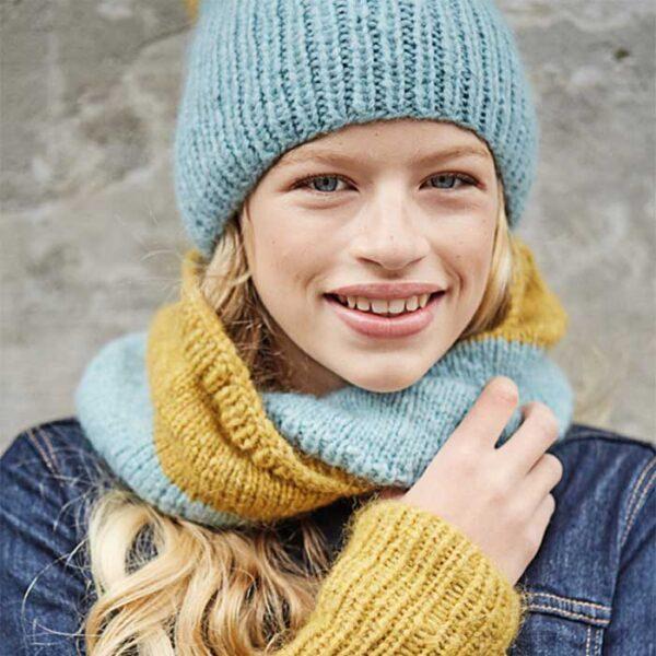 hue, halrør og pulsrør nærbillede Kirsten Nyboe Strikdesign