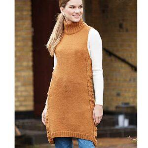 Strikket Tunika kjole forfra Kirsten Nyboe strikdesign