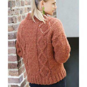 sweater med snoning bagfra Kirsten Nyboe strikdesign