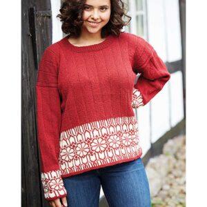 Plussize mønstrikket sweater forfra Kirsten Nyboe Strikdesign