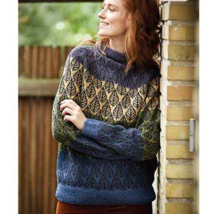 top down bladmønster sweater forfra