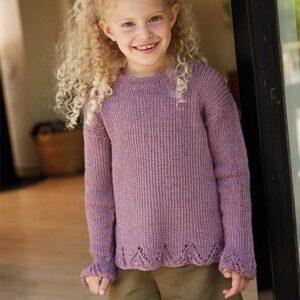 Pigesweater med hulmønsterbort