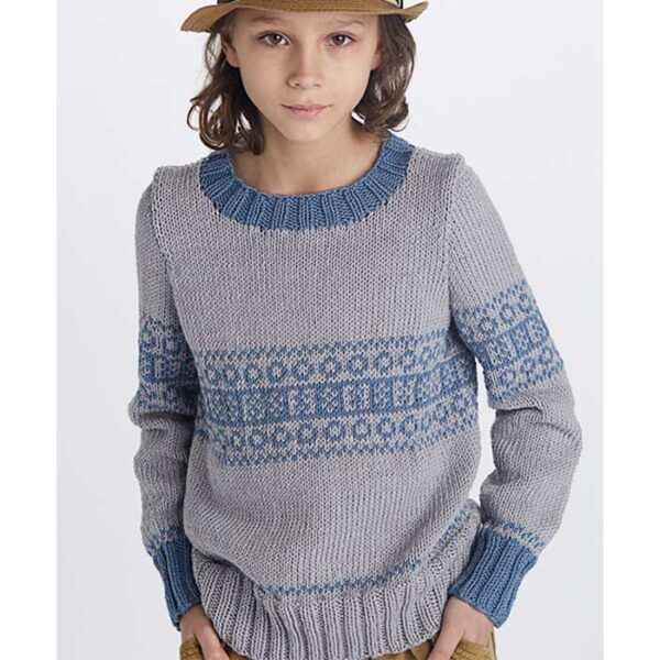 Drenge sweater med mønsterbort