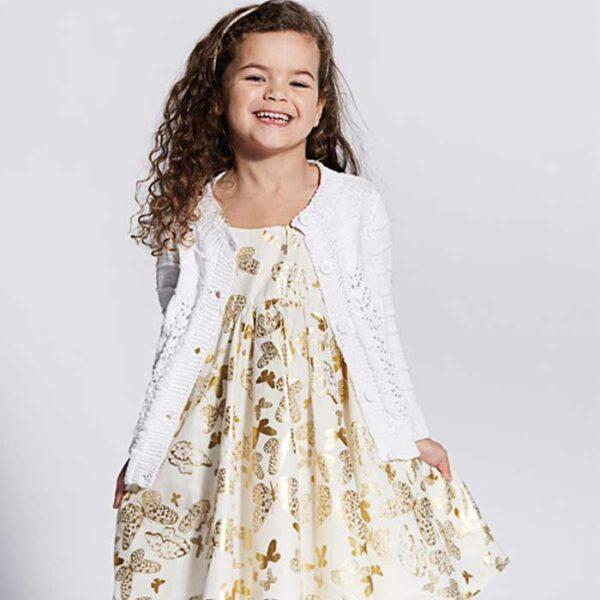 Pige cardigan med hulmønster swing i kjolen