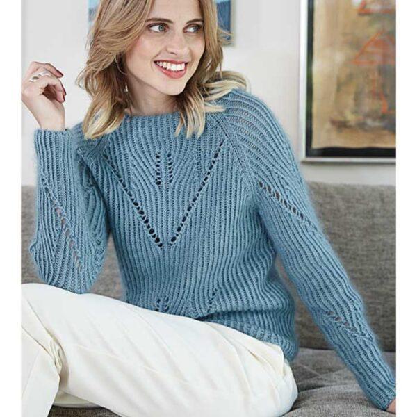 Raglan sweater med hulmønster