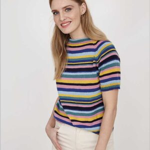 Stribet Top Down bluse