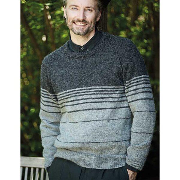 Herresweater emd raglan og striber