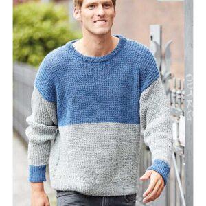 strikket herre sweater i rib mønster