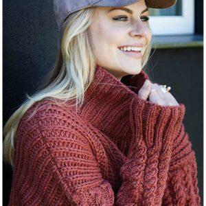 Zoom af strikket patent sweater