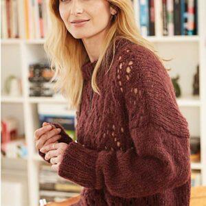 nærbillede af sweater med hulmønster